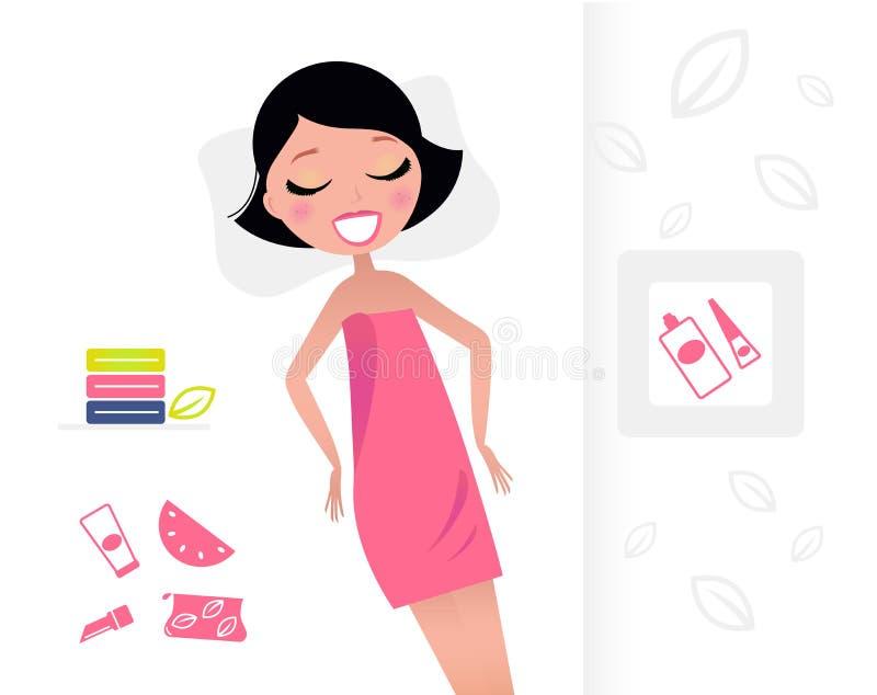 Mujer en la toalla rosada que se relaja en salón de belleza. stock de ilustración