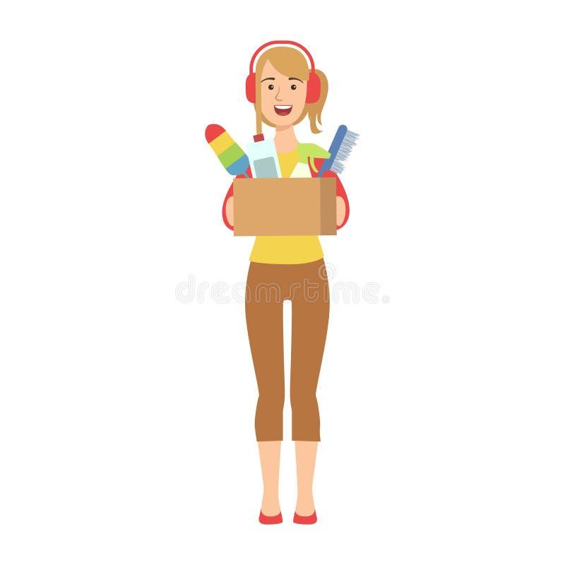 Mujer en las auriculares que sostienen la caja de sustancias químicas de hogar, de limpiar adulto de los caracteres de la histori libre illustration