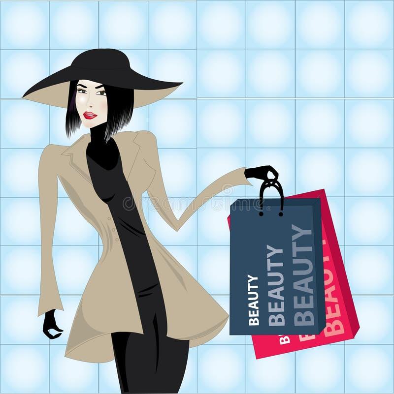 Mujer en las compras ilustración del vector