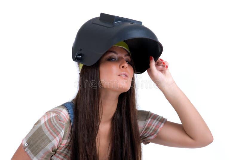 Mujer en máscara del soldador fotografía de archivo