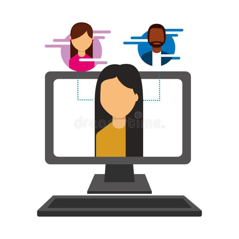 Mujer en medios sociales de los informáticos de la pantalla libre illustration