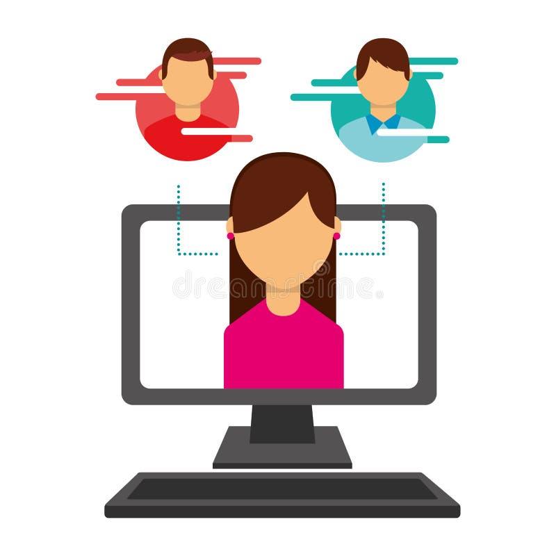 Mujer en medios sociales de los inform?ticos de la pantalla ilustración del vector