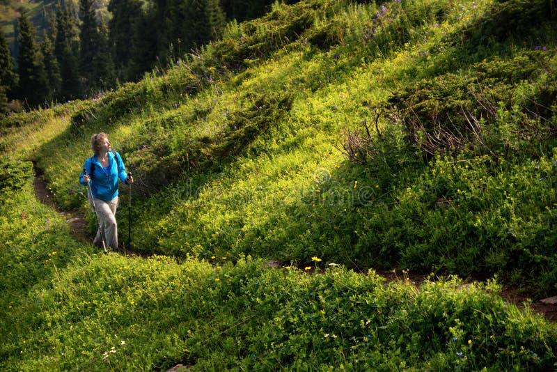 Mujer en montañas en una mañana del verano fotos de archivo libres de regalías
