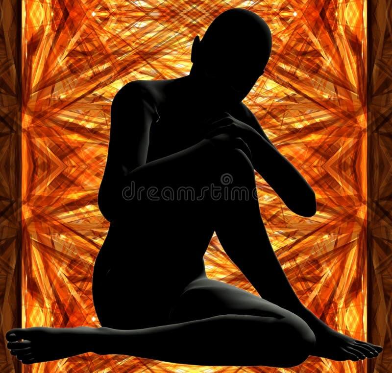 Mujer en oro ilustración del vector