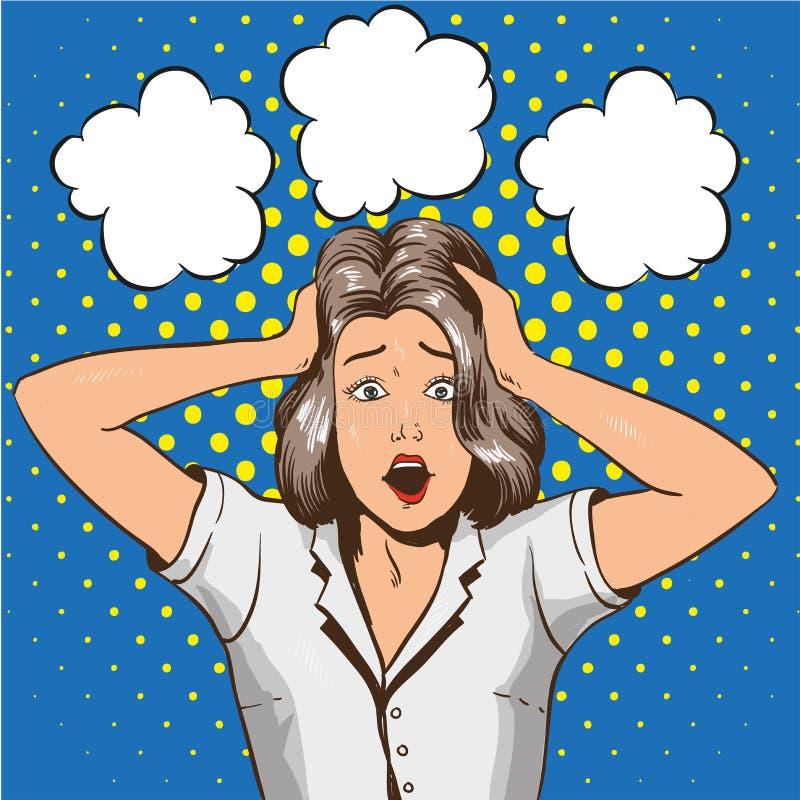 Mujer en pánico Ejemplo del vector en estilo retro del arte pop La muchacha subrayada en choque ase su cabeza en manos stock de ilustración