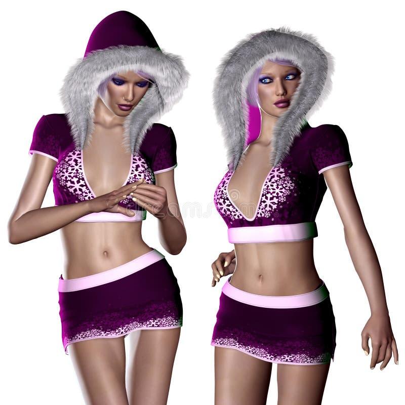 Mujer en paño púrpura del invierno stock de ilustración