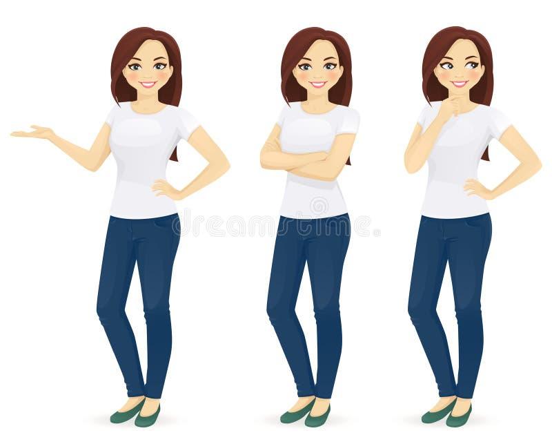 Mujer en pantalones vaqueros ilustración del vector