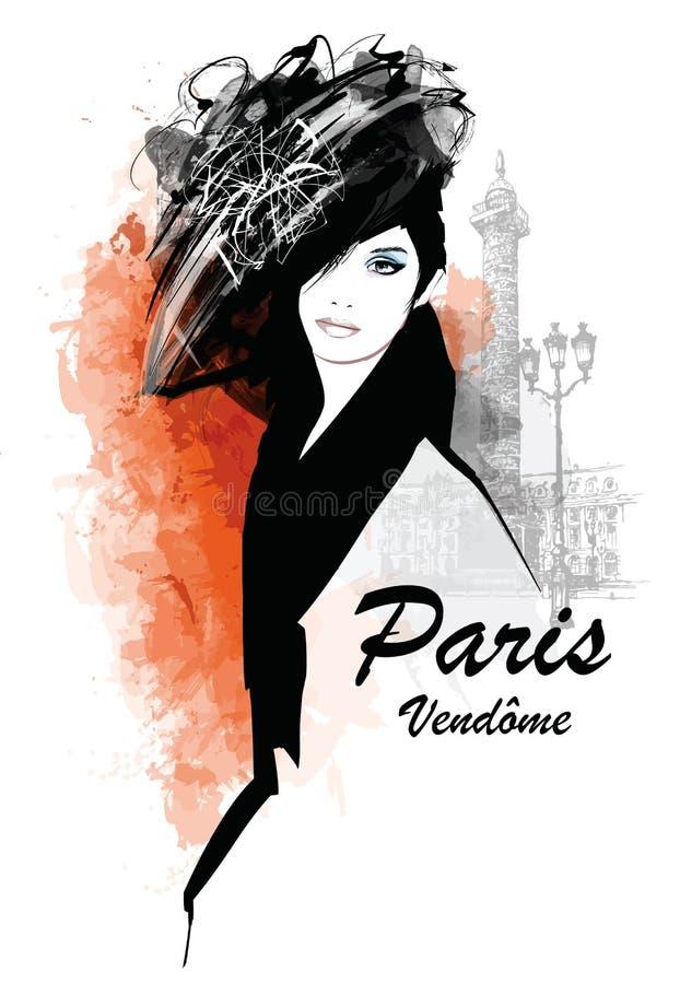 Mujer en París - coloque Vendome stock de ilustración