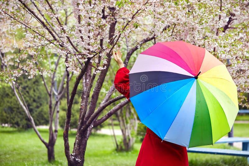 Mujer en parque de la ciudad en el tiempo de primavera imágenes de archivo libres de regalías