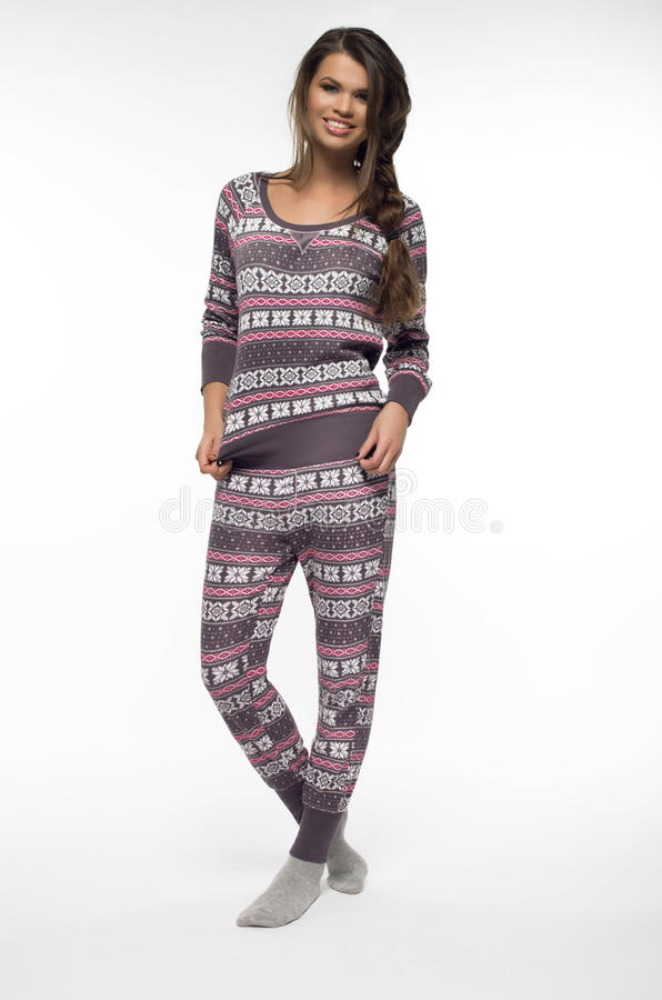 Mujer en pijamas imagen de archivo libre de regalías