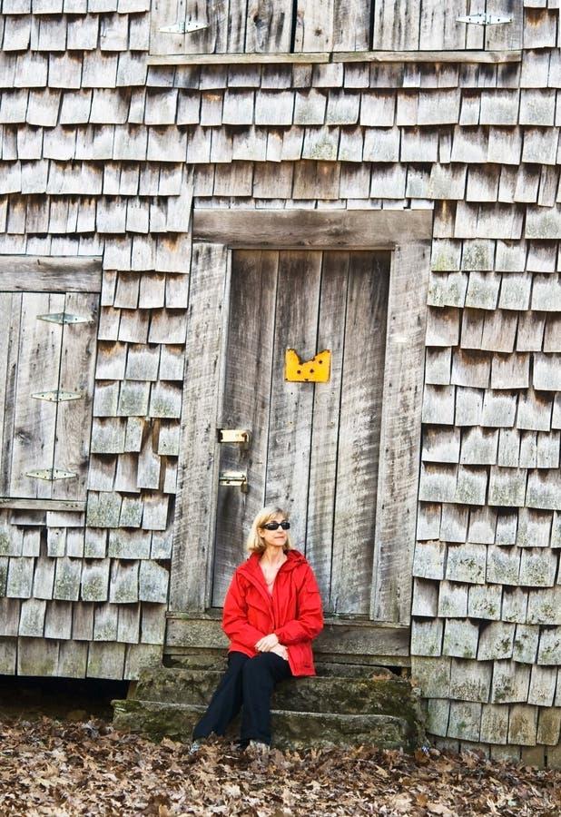 Mujer en rojo fotos de archivo