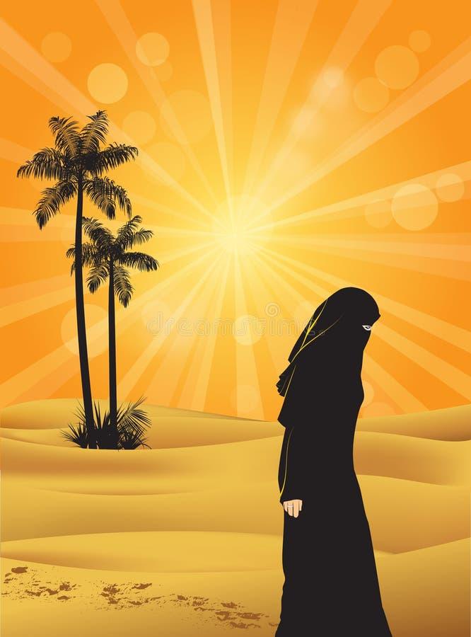 Mujer en Sáhara stock de ilustración