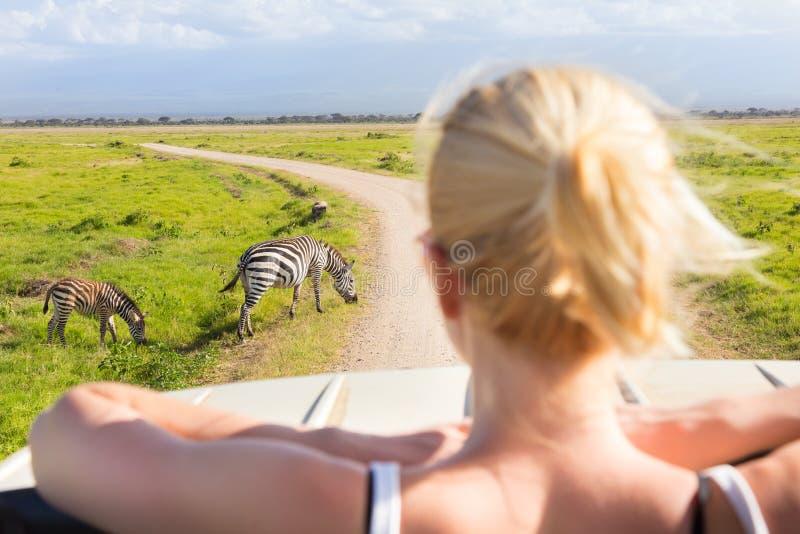 Mujer en safari africano de la fauna imagenes de archivo