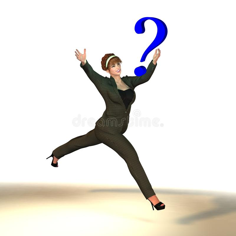 Mujer en signo de interrogación de cogida del traje de negocios ilustración del vector