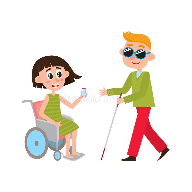 Mujer en silla de ruedas, hombre ciego con el bastón que camina libre illustration