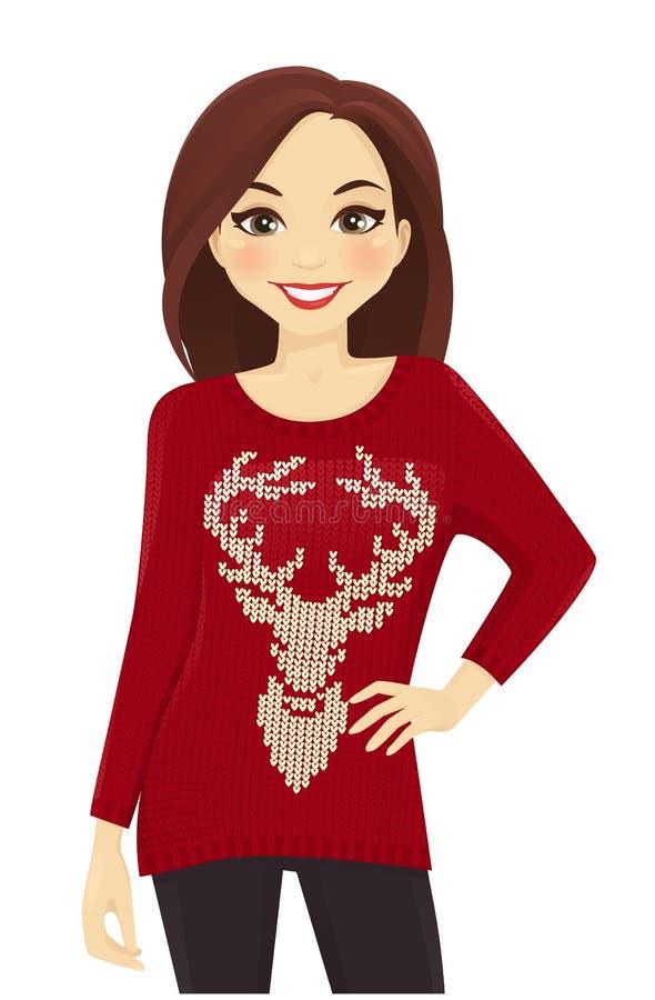 Mujer en suéter del día de fiesta ilustración del vector