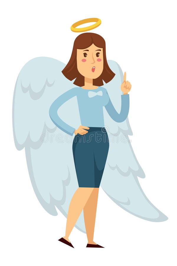 Mujer en traje de la oficina con las alas del ángel y la empresaria del halo stock de ilustración