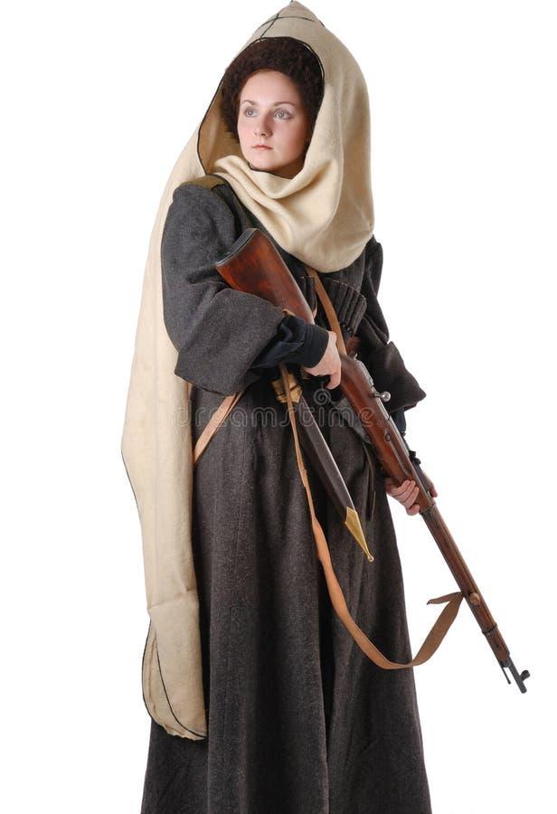 Mujer en traje de la vendimia del Cossack ruso foto de archivo