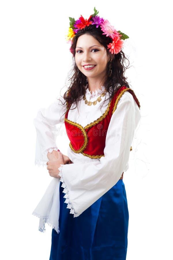 Mujer en traje griego tradicional fotos de archivo