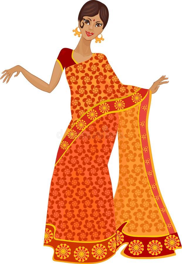 Mujer en traje indio tradicional ilustración del vector