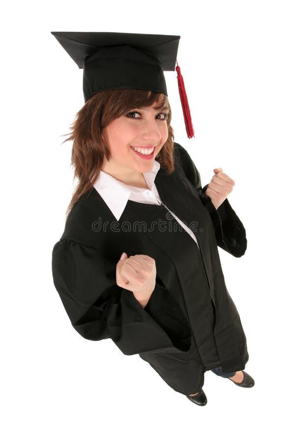 Mujer en trajes de la graduación imágenes de archivo libres de regalías