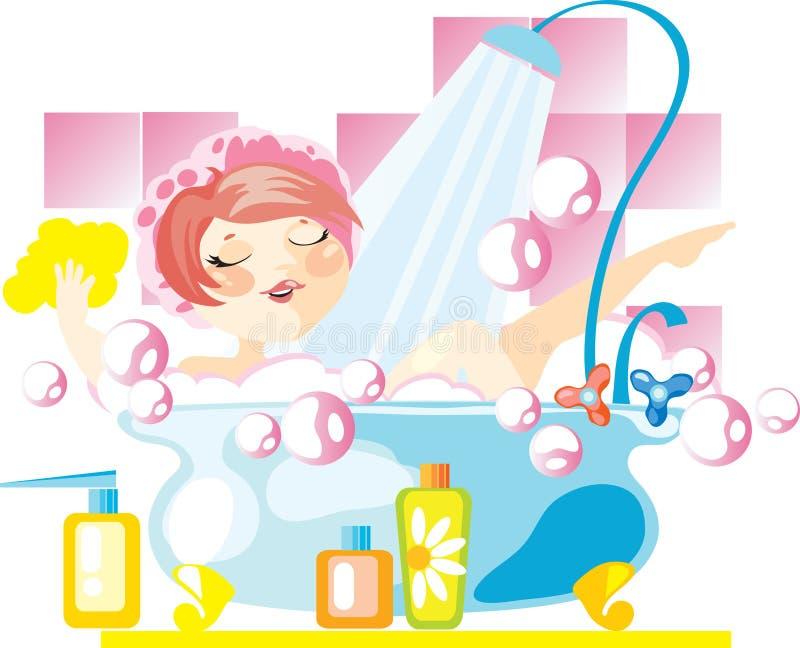 Mujer en un baño libre illustration