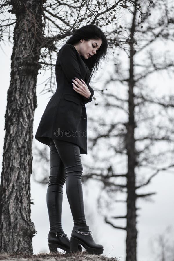 Mujer en un bosque seco imagen de archivo libre de regalías