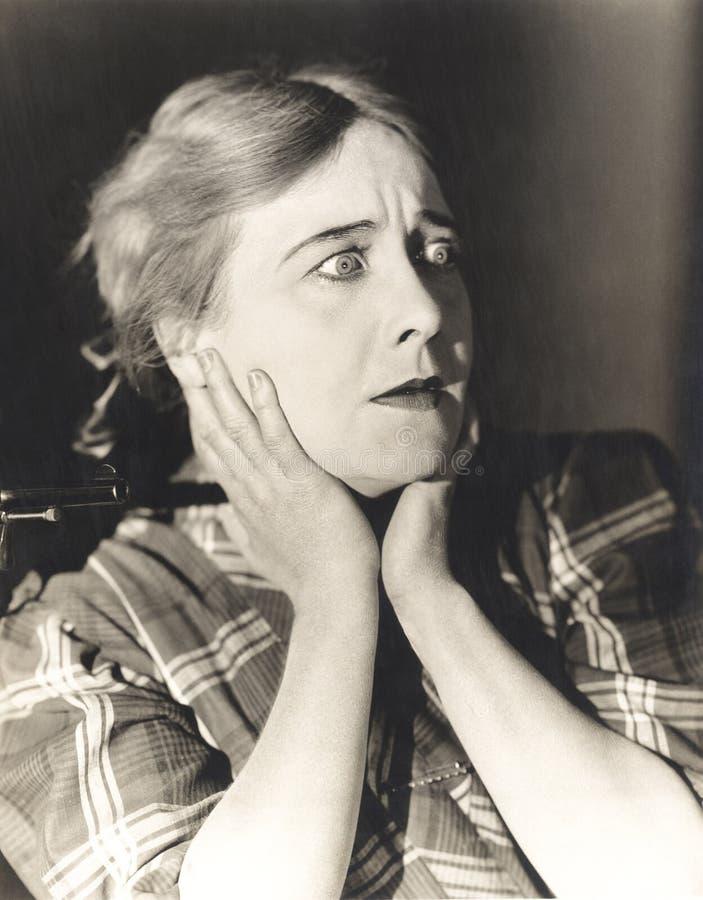 Mujer en un estado del choque fotografía de archivo libre de regalías