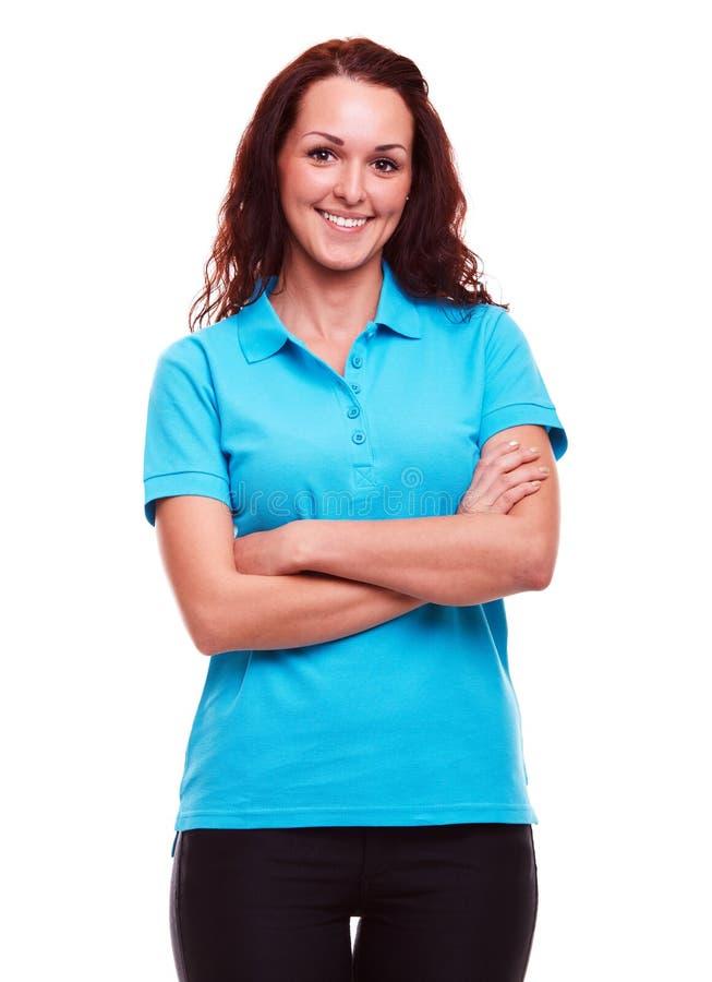 Mujer en un fondo blanco imagen de archivo libre de regalías
