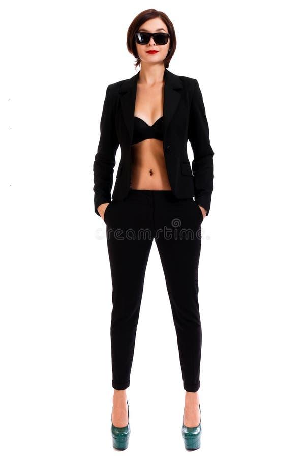 Mujer en un juego negro foto de archivo