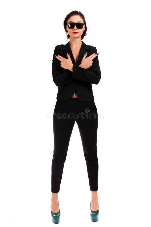 Mujer en un juego negro fotos de archivo