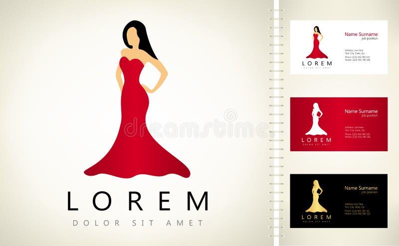 Mujer en un logotipo rojo del vestido stock de ilustración