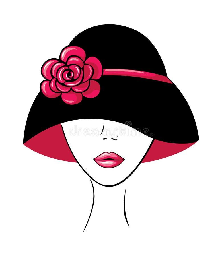 Mujer en un sombrero con la flor stock de ilustración