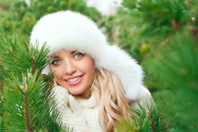 Mujer en un sombrero, manoplas, bufandas, suéteres, piel en bosque del abeto del invierno imagenes de archivo