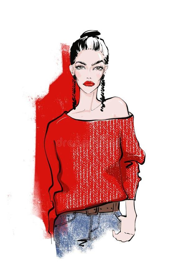 Mujer en un suéter hecho punto stock de ilustración