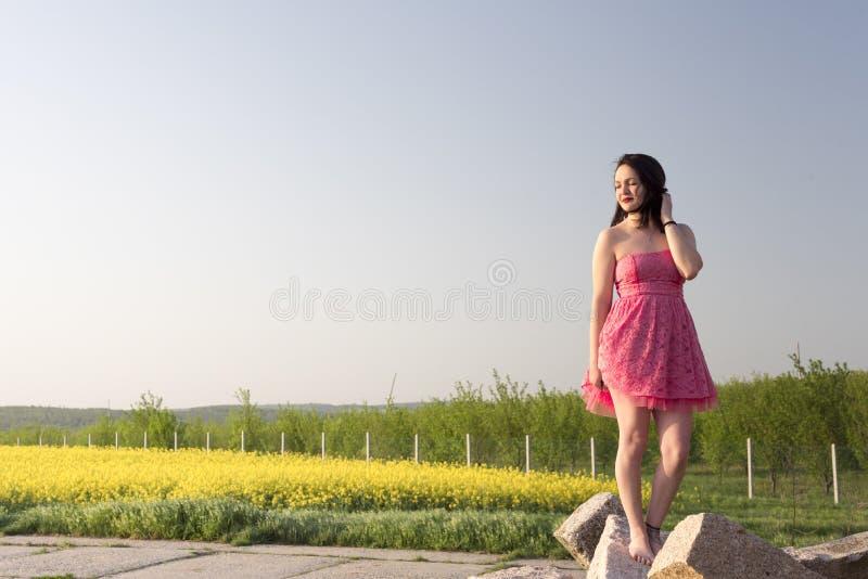Mujer en un vestido rosado en la puesta del sol imágenes de archivo libres de regalías