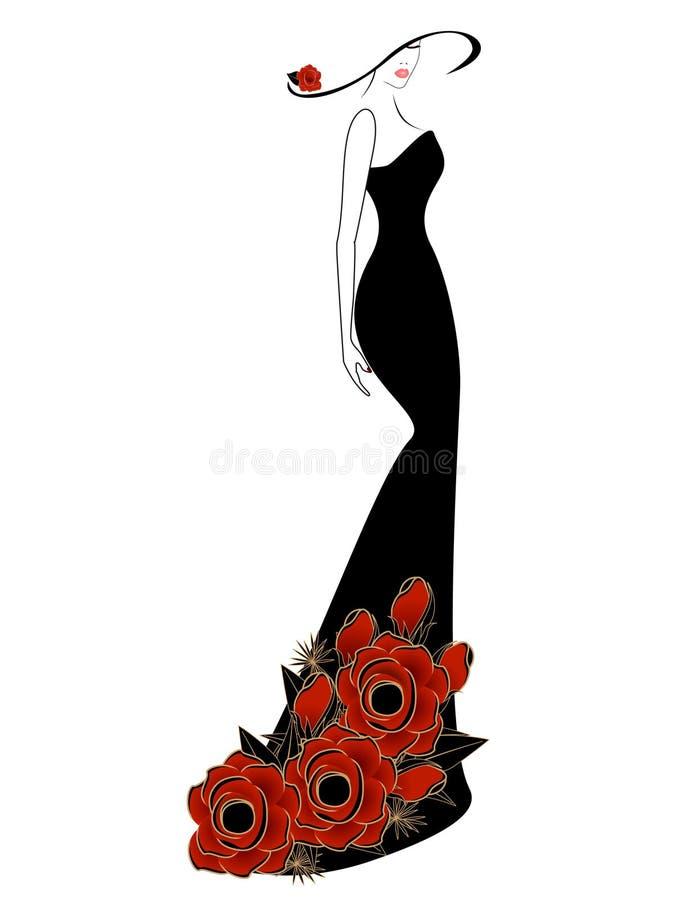 Mujer en un vestido y un sombrero con la rosa del rojo ilustración del vector