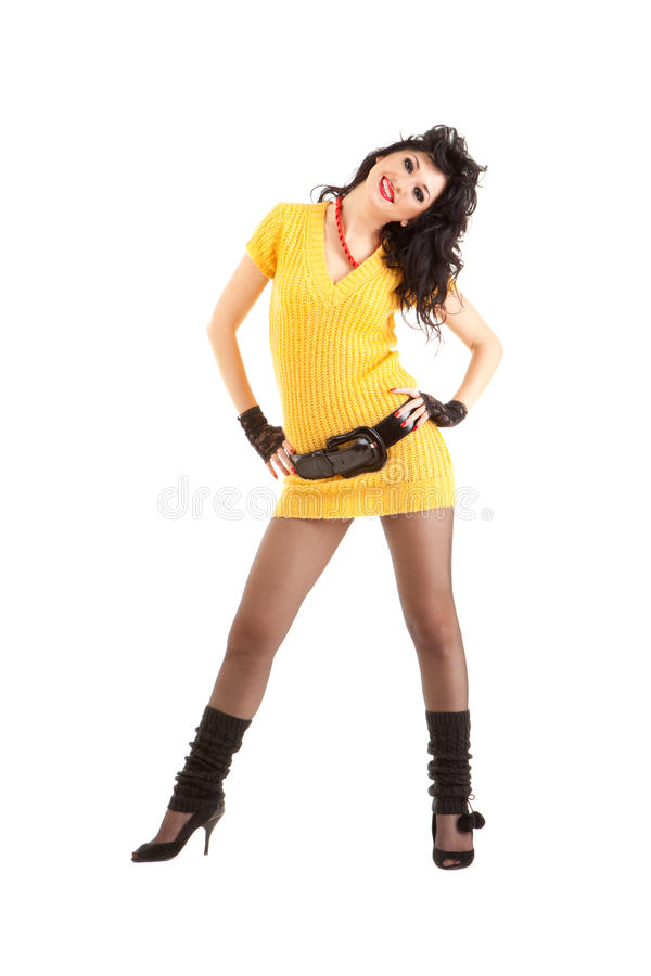 Mujer en una alineada amarilla imagen de archivo libre de regalías
