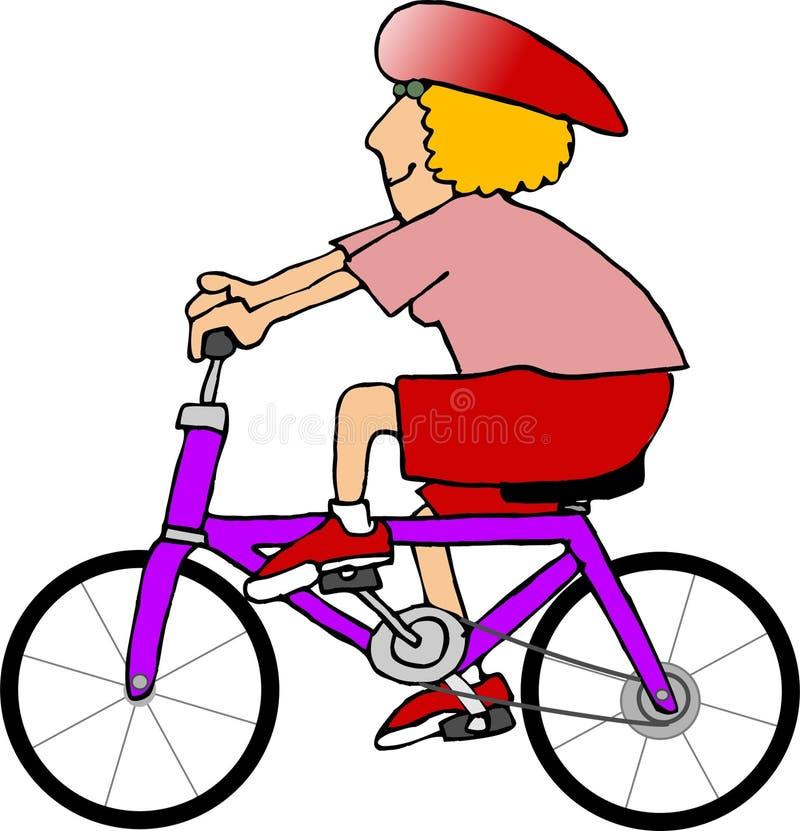 Mujer en una bici stock de ilustración