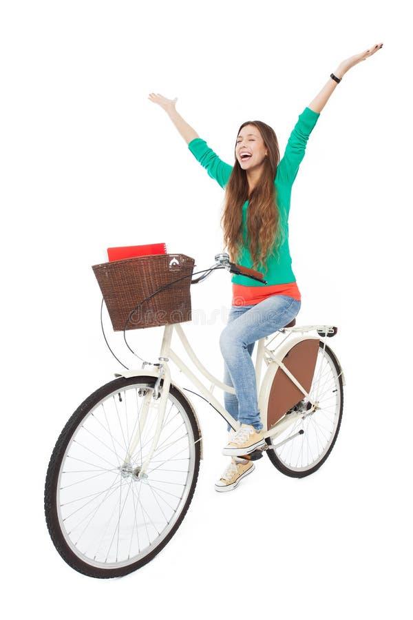 Mujer En Una Bici Imagen de archivo libre de regalías