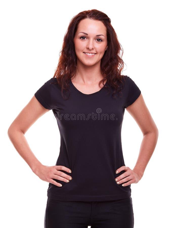 Mujer en una camisa negra fotos de archivo