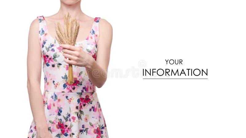 Mujer en una impresión floral del vestido en el modelo del trigo de las manos fotos de archivo