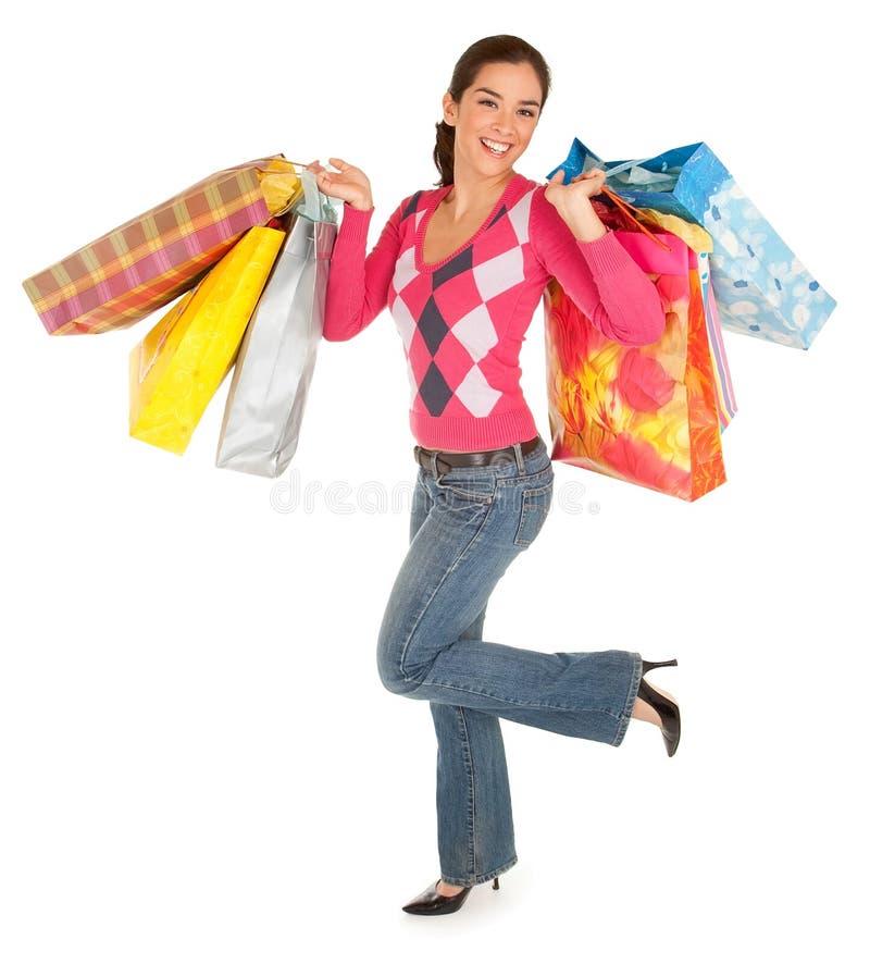 Mujer en una juerga de compras imágenes de archivo libres de regalías