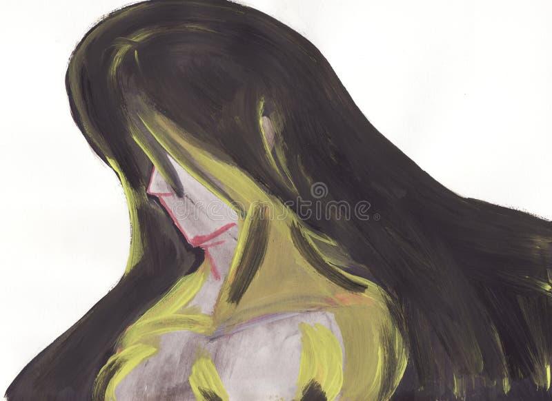 Mujer en una pintura abstracta ilustración del vector