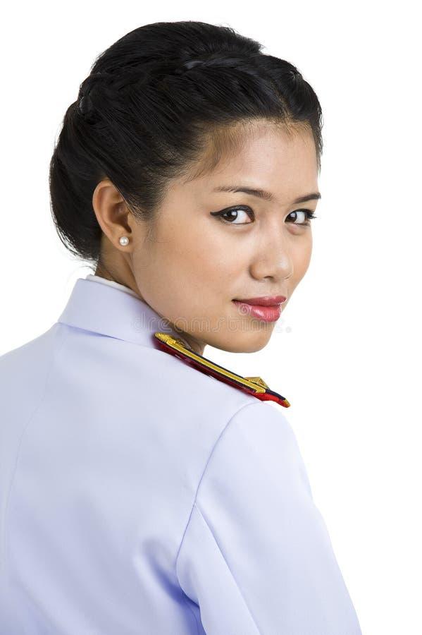 Mujer en uniforme del ejército foto de archivo libre de regalías