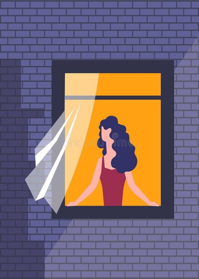 Mujer en ventana con la pared de ladrillo de la noche de la cortina ilustración del vector