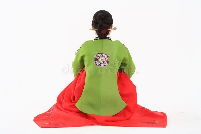 Mujer en vestido coreano fotos de archivo