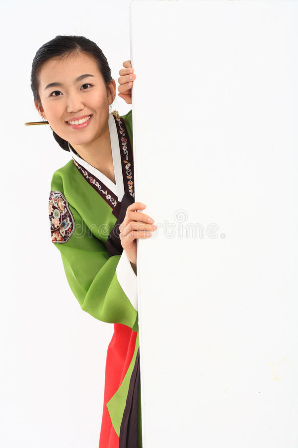 Mujer en vestido coreano fotos de archivo libres de regalías