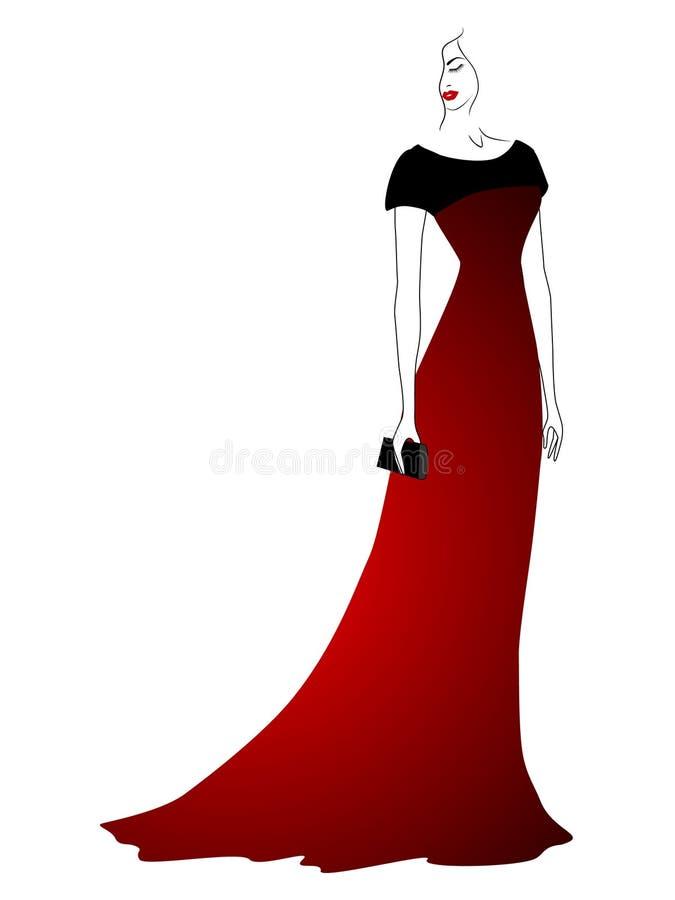 Mujer en vestido de noche con el embrague stock de ilustración
