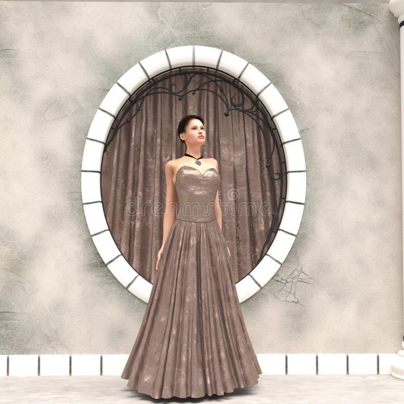 Mujer en vestido del terciopelo ilustración del vector